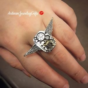 Unisex Steampunk Wings Watch Parts Ring